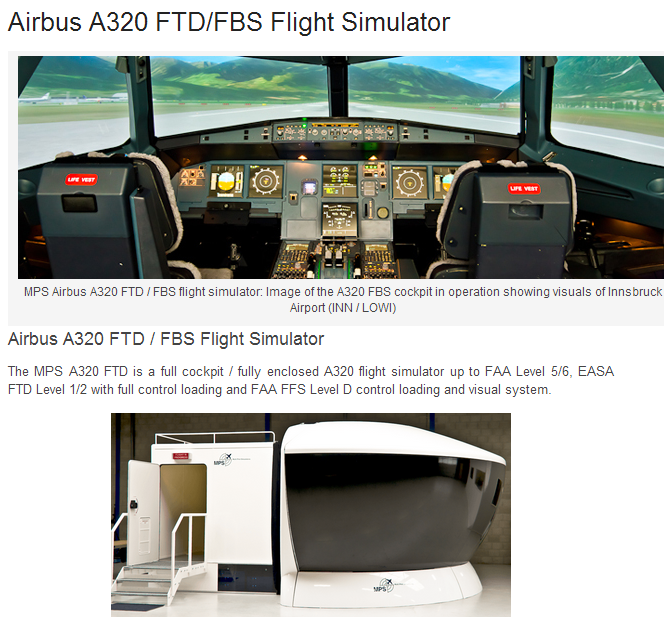 Airbus A320 FTD/FBS Flight Simulator_Products_MPL Simulator Solutions